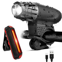 USB Rechargeable Bright LED Bicycle Bike Front Headlight Rear Tail Light Set LA