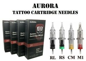 20PCS Aurora Disposable Tattoo Cartridges Needles Liners and Shaders RL,RS,M1,CM