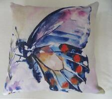 Watercolour Purple Red Orange Blue Large Butterfly Linen Look Cushion Cover 45cm