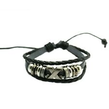Black Braided Leather Bracelet with beads