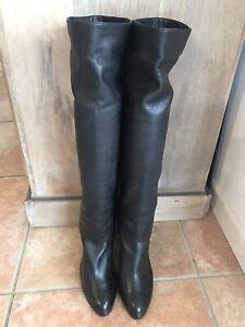 Stiefel Sergio Rossi Größe 39 Kalbsleder schwarz - gebraucht sehr guter Zustand