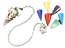 """Jet Om 2"""" Chakra Cage Pendulum Dowsing Divination Yes/No Wicca 7 Stones Cone"""