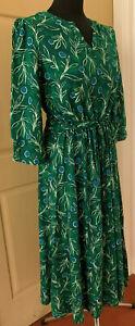 SEASALT Green Thrift Cutting Copse Narcissi Dress tie waist Sizes 14 to 22