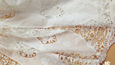White Floral Lace Fabric Cotton Curtain Embroidered Hollow Out Fabric Scalloped