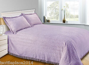 Luxury Candlewick Bedspread Traditional Bed Throw Size Single Double & King