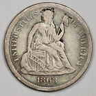 1863-s Liberty Seated Dime.  Civil War Era.  VF.  164729 for sale