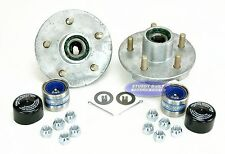 (2) Galvanized Trailer Hub Kits 3500lb 5 Lug Greased Bearings w/ Trailer Buddys