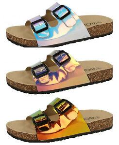 F0R0227- Ladies Holographic 2 Buckle Mule Sandals! - 3 Colours!