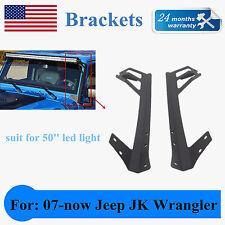 "Jeep Wrangler JK 50"" LED Light bar Metal Upper Windshield Mounting Brackets USA"