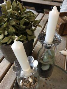 Affari -2er-Set Kerzenmanschette Metall Tropf Wachs Schutz Fänger Kerze Silbe