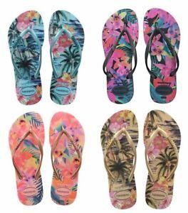 Havaianas Slim Women Tropical Blue Splash Rose Black Ivory Flip Flops All Sizes
