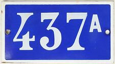 Old blue French house number 437 A door gate plate wall plaque enamel metal sign