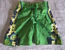 Old Navy Toddler Boy's Swim Trunks Board Shorts Size XS Hawaiian Floral Green