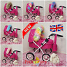 Dolls Pram 80cm Luxury Faux Fur HOOD TRIM Baby Girls 130 colours Play Doll Furs