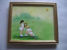 "Framed Enamel Over Copper Painting 2 Girls Sunny day TENNIS 7 1/4"" by 6 1/4"""