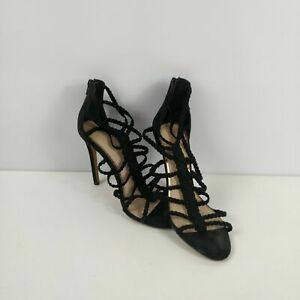 WOMENS OFFICE FAUX SUEDE CAGED ZIP UP HIGH HEELS SHOES UK 7 EU 40