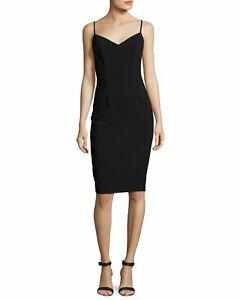 Black Halo Chantal Black Tweed Trim Sheath Dress 10