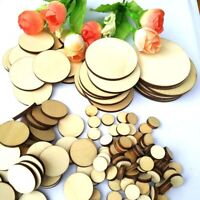 100X Unfinished Wooden 10-50mm Round Discs Rustic Embellishments Art Crafts 2021