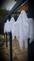 3 x Hanging Ghoul Ghost Halloween Decoration Display Prop Small White Sheet