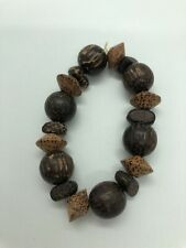 Chunky Beaded Bracelet Boho Brown Natural Lagenlook Ethnic Style Holiday