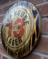 Guinness hop house 13  round plaque wooden sign mancave shed bar pub 14inch