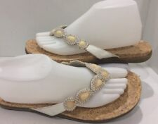 Kenneth Cole Reaction Jeweled Cream & Gold Flat Flip Flops Size 9.5 M  VGC