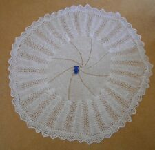 """NEW HAND KNITTED 42"""" WIDE APPX BABY SHAWL PATONS FAIRYTALE SOFT 2 PLY WHITE YARN"""