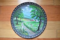 Vintage Collectible Hand Painted Plate with a Farm Motif Beautiful Paint