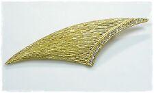 Neu BROSCHE mit STRASSSTEINE in kristallklar STRASS Nadel BROSCHE goldfarben
