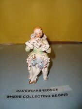 Vintage Bone China Lace Girl Figurine Sitting w/ Flute / Victorian EX Condition