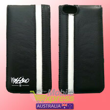 Apple iPhone 5 & 5S Genuine Mossimo Leather Flip Case in Black / White
