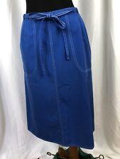 Vintage 70s Koret Koratron Blue Wrap Skirt Made in Usa Size 14 / Small to Medium