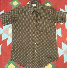 Vintage 70s Van Cort Short Sleeve Disco Shirt Brown Geometric Medium
