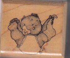 "bouncing baby mostly animals Wood Mounted Rubber Stamp 1 1/2 x 1 1/2"" free ship"