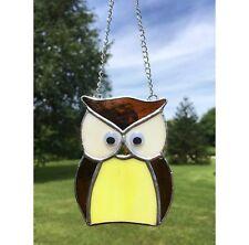 Handmade Stained Glass Owl Suncatcher Tiffany technique Yellow Glass Gift