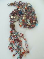 BEAUTIFUL VINTAGE MULTI STRAND BEADED STATEMENT NECKLACE
