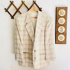 Nino Cerruti Bachrach Mens 42S Sport Coat Blazer Windowpane Plaid Vintage Jacket