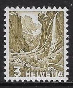 Switzerland 1936 Landscape Defn 3c Olive, Grilled Sc#227a/ Zum 201z -cw80.1