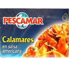 Lot de 5 boites de Calmars en Sauce Americane Pescamar.