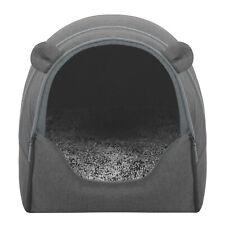 Hundehöhle Haustierhund Katzenhaus Hundebett mit Kissen 2 in 1 Welpenbett Grau