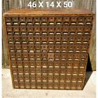 Antique U.S. Post Office Oak Cabinet Mail Box 108 Brass & Glass Boxes With Keys