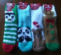 Fuzzy Socks Adult One Size Brown Christmas Bear Gingerbread Panda Penguin Soft