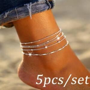 5Pcs/Set Women Anklet Adjustable Silver Chain Foot Beach Ankle Bracelet Jewelry