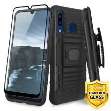 For Samsung Galaxy A20/A30/A50 Case Belt Clip Kickstand Holster +Tempered Glass