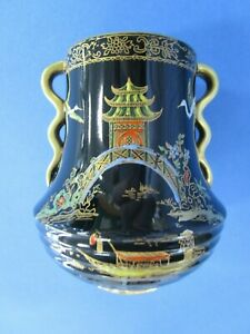 Carlton Ware Black Royale Gilt twin handle small vase