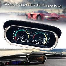Car LCD Digital Water Temp Oil Pressure Gauge Panel w/ Sensor Trucks Universal