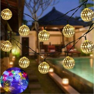 20LED Moroccan Solar Garden String Lights Hanging Lantern Fairy Light Outdoor