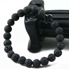 Men's Lava Stone Beads Hematite Cross Beaded Bracelets Party Gift Yoga Jewelry