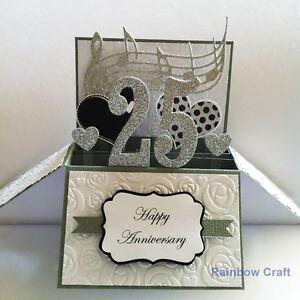 Handmade 25 Anniversary card / Handmade Anniversary card   Number Personalised