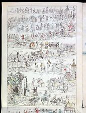 Large Uncut Sheet Carnaval de Nice 1884,- Fanciful A. Mossa Imagery